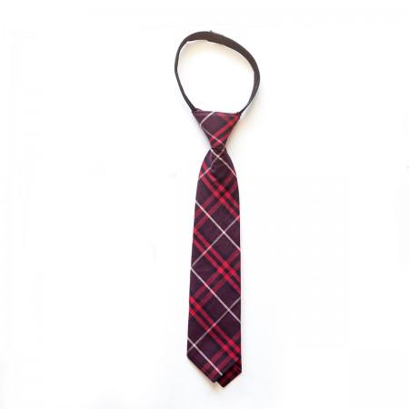 Γραβάτα παρέλασης καρό μπορντό χρώμα