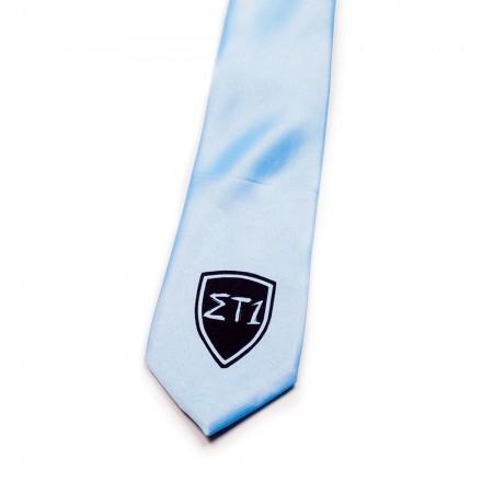 Γραβάτα σιέλ κλασική παρέλασης τυπωμένη  (43cm)