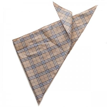 Kαρό τρίγωνο μαντήλι βαμβακερό παρέλασης και σχολικών εκδηλώσεων χρώματος μπεζ