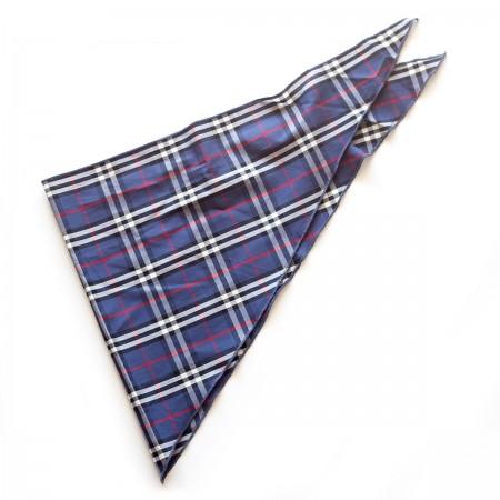 Kαρό τρίγωνο μαντήλι βαμβακερό παρέλασης και σχολικών εκδηλώσεων χρώματος μπλέ