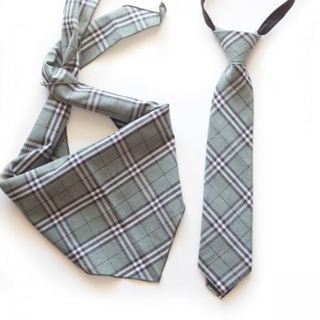 Σετ τρίγωνο μαντήλι καρό βαμβακερό παρέλασης και καρό γραβάτα  σχολικών εκδηλώσεων γκρί χρώμα