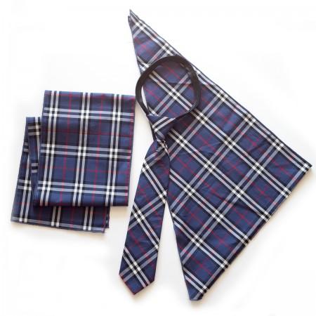 Σετ  παραλληλόγραμμο μαντήλι καρό βαμβακερό παρέλασης και καρό γραβάτα σχολικών εκδηλώσεων μπλέ χρώμα