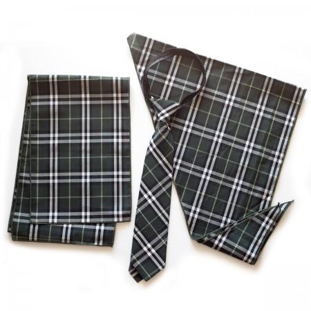 Σετ παραλληλόγραμμο μαντήλι καρό βαμβακερό παρέλασης και καρό γραβάτα σχολικών εκδηλώσεων μαύρο χρώμα