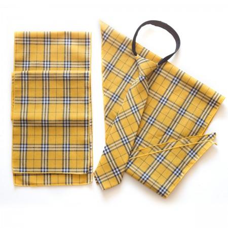 Σετ παραλληλόγραμμο μαντήλι καρό βαμβακερό παρέλασης και καρό γραβάτα σχολικών εκδηλώσεων κίτρινο χρώμα