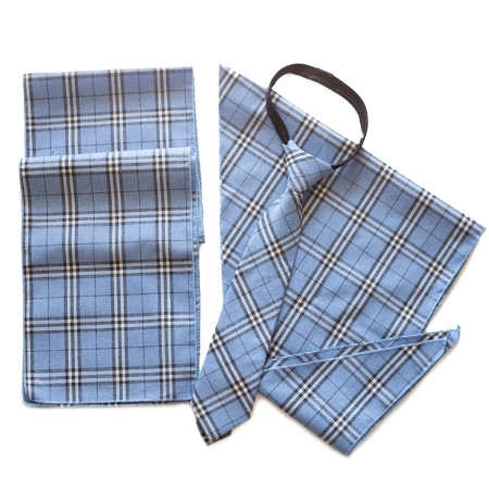 Σετ παραλληλόγραμμο μαντήλι καρό βαμβακερό παρέλασης και καρό γραβάτα σχολικών εκδηλώσεων σιέλ χρώμα