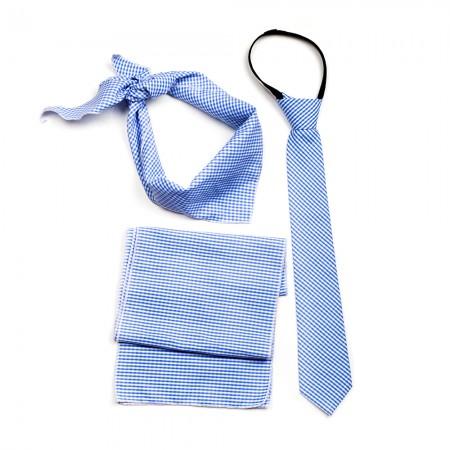 Σετ σιέλ χρώμα πτι καρό μαντήλι - γραβάτα