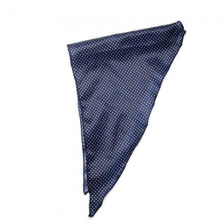 Κλασικό τρίγωνο μαντήλι σατέν παρέλασης και σχολικών εκδηλώσεων πουά χρώματος μπλέ σκούρο
