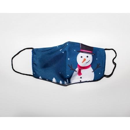Μάσκα βαμβακερή χριστουγενιάτικη σχέδιο χιονάθρωπος σε δάσος