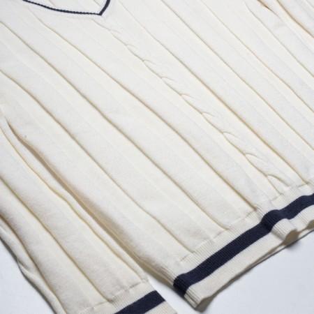 Πουλόβερ βε με ρίγα και χοντρή κοτσίδα λευκό (4-8 ετών)