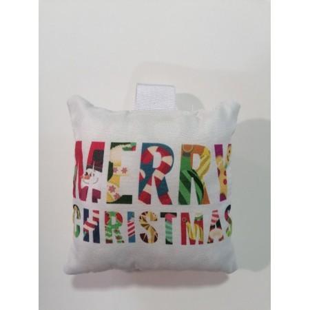Χριστουγενιάτικο στολίδι μαξιλαράκι  - Merry christmas πολύχρωμο