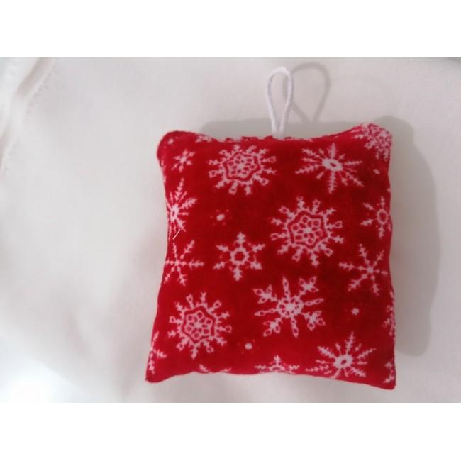 Χριστουγενιάτικο στολίδι μαξιλαράκι κόκκινο - Χιονονιφάδες